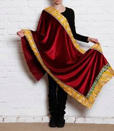 Buy Red Semi Velvet Shawl shawl online