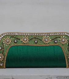 Buy Green Elegant Embroidered Border Clutch clutch online