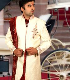 Buy straw brocade embroidered sherwani sherwani online
