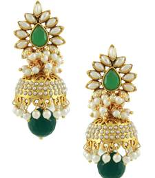 Buy Rajwadi Polki Emerald Jhumki Earrings jhumka online