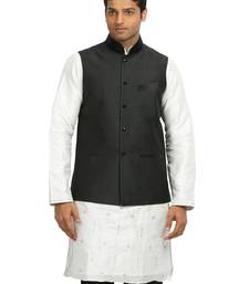 Buy Black plain designer silk Nehru jacket nehru-jacket online