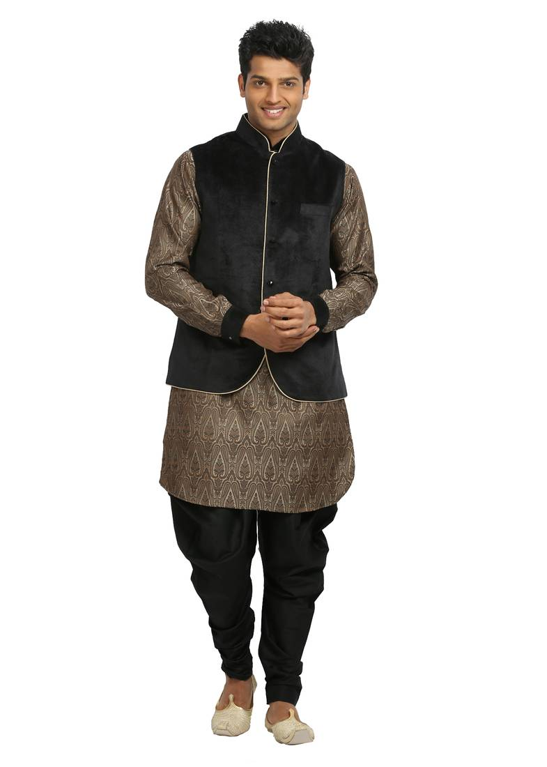Buy Brown Plain Jaquard Silk Designer Pathani Suit With