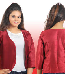 Buy Maroon Raw Silk 3/4th sleeves Jacket or blazer to wear with traditional and western outfits gifts-for-her online