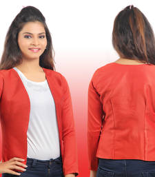 Buy Red Raw Silk 3/4th sleeves Jacket or blazer to wear with traditional and western outfits gifts-for-her online