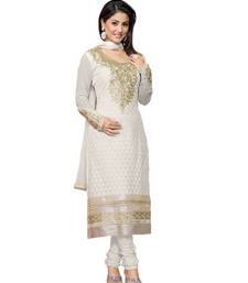 Buy Off_White embroidered Georgette unstitched salwar with dupatta dress-material online