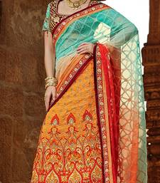 Buy orange embroidered crepe  saree with blouse crepe-saree online