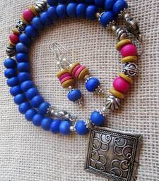 Buy Blue Ceramic beads necklace Necklace online