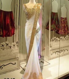 Buy white plain net MM Designer saree with blouse piece net-saree online