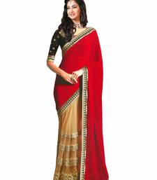 Buy red coffee embroidered georgette saree wedding-saree online