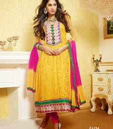 Yellow embroidered Brasso semi-stitched salwar with dupatta shop online