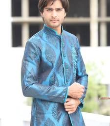 Buy Blue satin indowestern suit achkan online