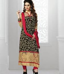 Buy Black - Red embroidered georgette unstitched salwar with dupatta dress-material online
