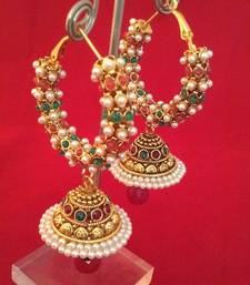 Ethnic Indian Bollywood Fashion Jewelry Set Pearl Polki Hoops Jhumki Earrings shop online