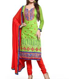 Buy GREEN embroidered chanderi unstitched salwar dress-material online