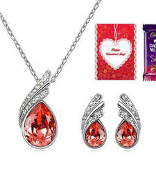 Buy Valentine Special RedAustrain Crystal Necklace Set with Valentine card and chocolate valentine-gift online