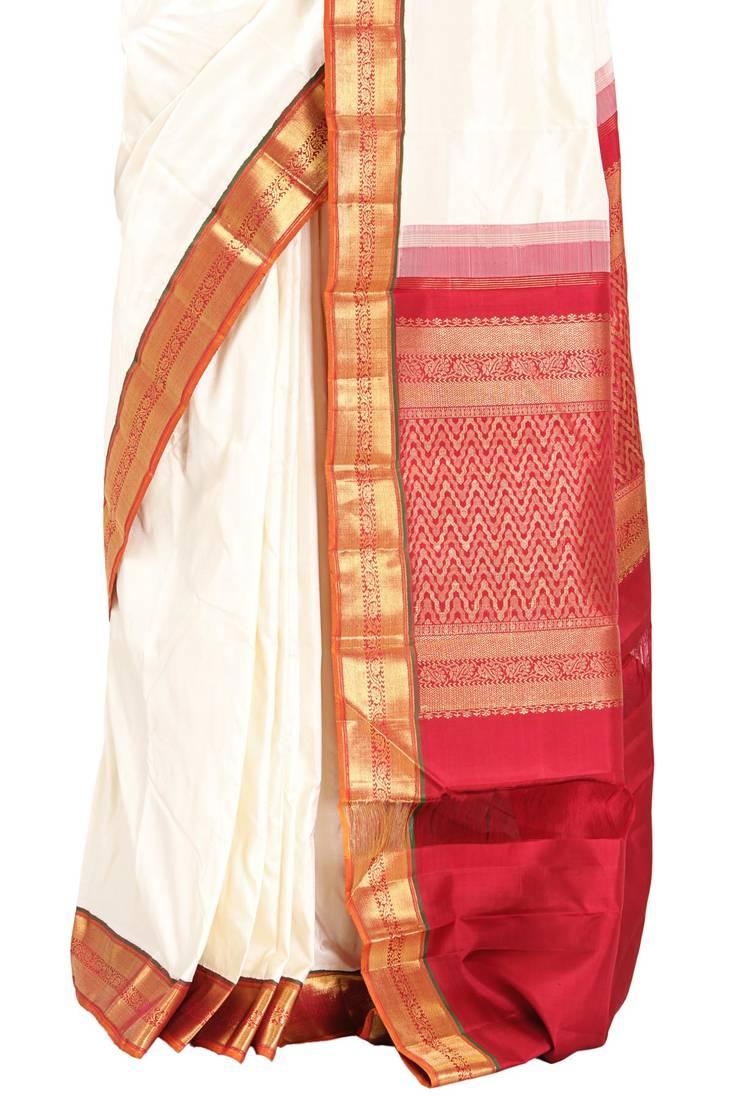 Buy White Pure Kanchipuram Real Silver Zari Saree With Red