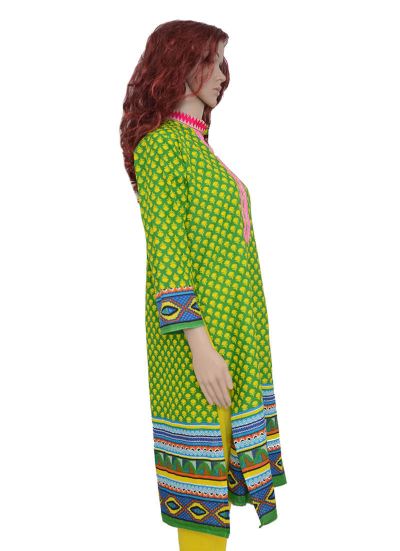 Stand Neck Designs : Buy green shiny neck with stand patti straight cut cotton
