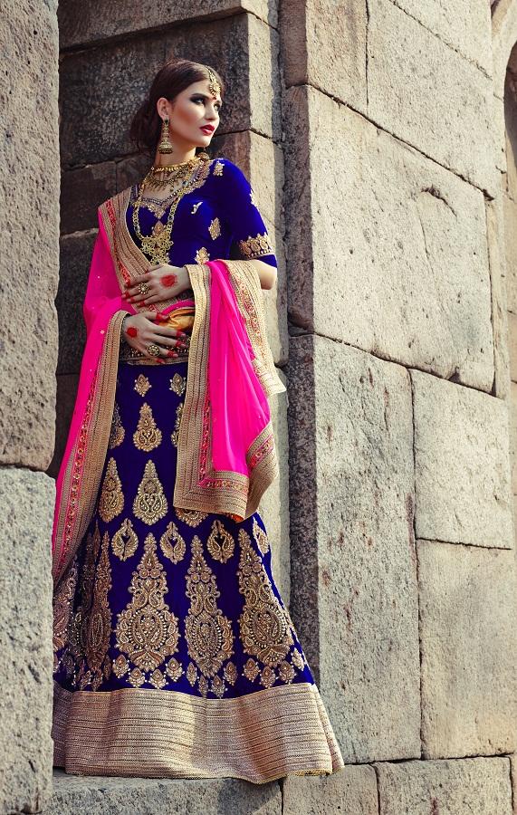 Buy Blue Zari Work Velvet Bridal Lehenga With Blouse Online