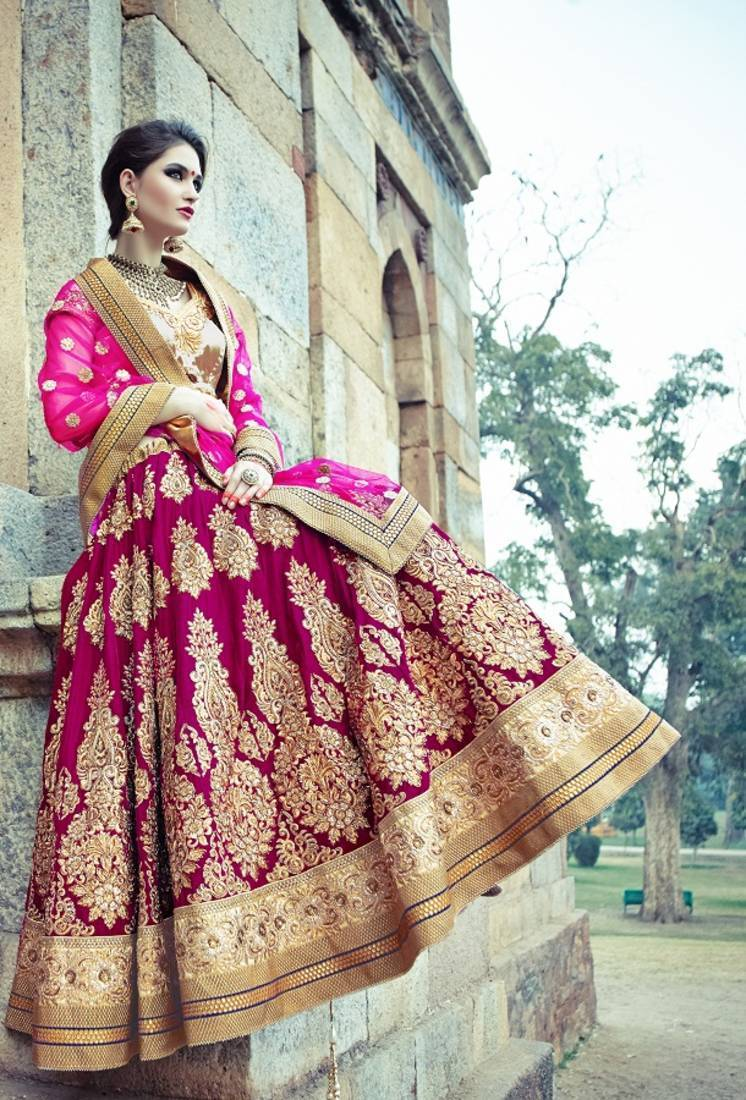 Buy Maroon Zardosi Velvet Bridal Lehenga With Blouse Online