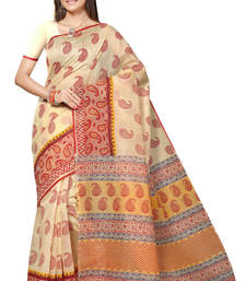 Buy Beige printed cotton saree with blouse bengali-saree online