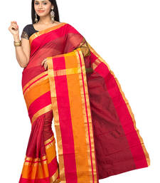 Buy Orange plain cotton-silk saree with blouse cotton-saree online