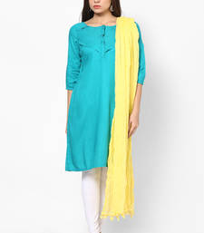 Buy Yellow Cotton Solid Dupatta with Pom Pom Border stole-and-dupatta online