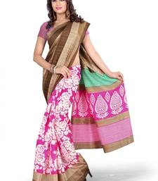 Buy multicolor PRINTED bhagalpuri-silk saree with blouse shimmer-saree online