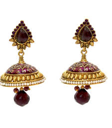 Buy Purple Enamel Jhumka Earrings jhumka online