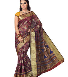 Buy Blue - Maroon printed cotton saree with blouse cotton-saree online