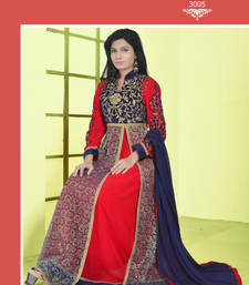 Buy Red embroidered georgette semi-stitched salwar with dupatta party-wear-salwar-kameez online
