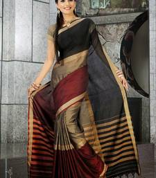 Multicolor Plain Cotton Saree with Blouse shop online