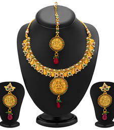 Buy Divine Gold Plated Temple Jewellery Necklace Set for Women necklace-set online