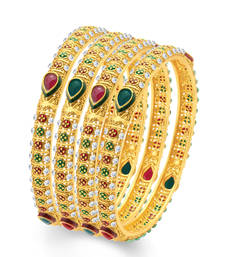Buy Sublime Gold Plated Traditional Set of 4 Bangles for Women bangles-and-bracelet online