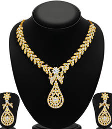 Buy Stylish Gold Plated AD Necklace Set for Women necklace-set online