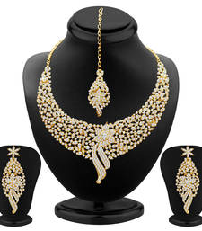 Buy Sleek Gold plated AD Stone Necklace Set necklace-set online