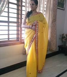 Buy Yellow plain cotton saree with blouse cotton-saree online