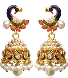Buy Peacock purple green Indian ethnic earrings fashion jewelry jhumka online