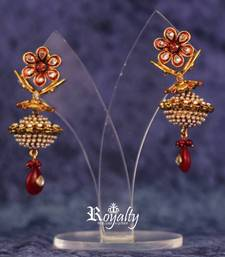 Royal Dull Golden Jhumka Pearls Earrings shop online