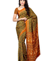 Buy Brown Printed crepe saree with blouse crepe-saree online