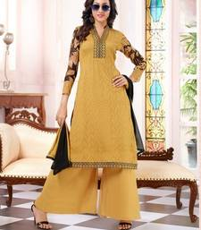 Buy Light-Yellow embroidered net semi-stitched salwar with dupatta party-wear-salwar-kameez online
