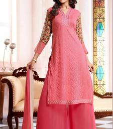 Buy Pink embroidered net semi-stitched salwar with dupatta party-wear-salwar-kameez online