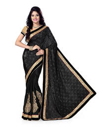 Buy Black Satin Jaquard And Satin Embroidered saree with blouse satin-saree online