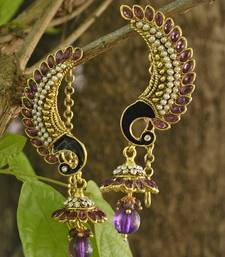 Buy Purple Peacock Earrings with Dangling Drops hoop online