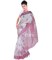 Buy White printed tissue saree with blouse tissue-saree online