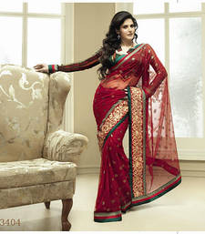 Buy Red Deep embroidered georgette saree with blouse zarine-khan-saree online
