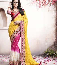 Buy Yellow embroidered crepe saree with blouse party-wear-saree online