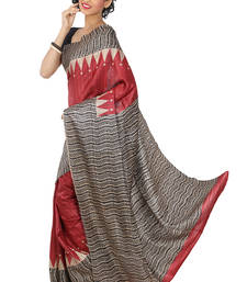 Buy Black  -  Red Printed silk saree with blouse silk-saree online