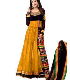 Buy YELLOW embroidered net semi-stitched salwar with dupatta eid-special-salwar-kameez online