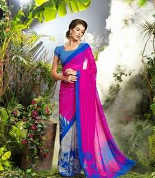 Buy Pink  -  Grey  Printed georgette saree with blouse georgette-saree online