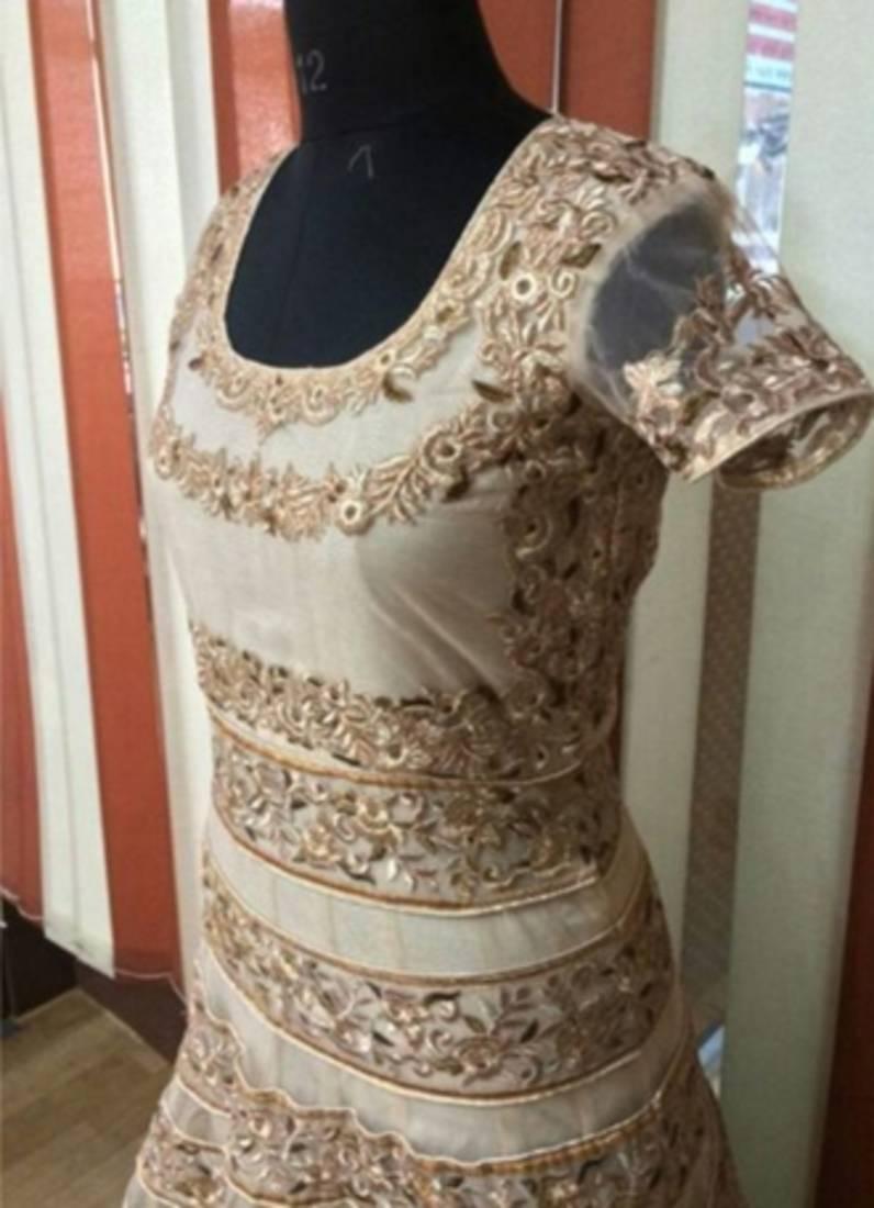 buy shilpa shetty bollywood replica designer beige gold maroon gown style salwaar suit online. Black Bedroom Furniture Sets. Home Design Ideas